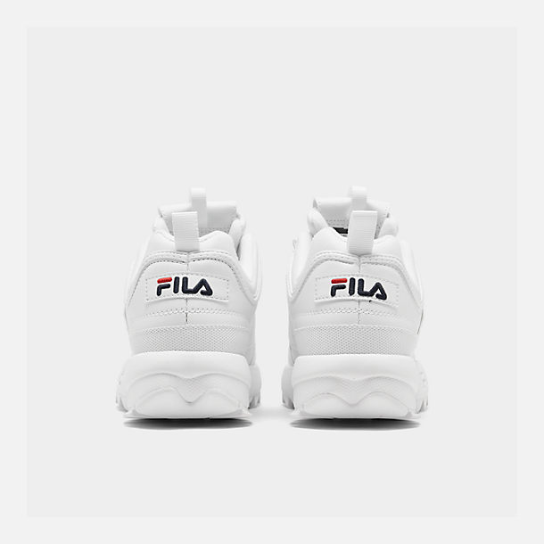 Left view of Boys' Big Kids' Fila Disruptor II Casual Shoes in White/Navy/Red