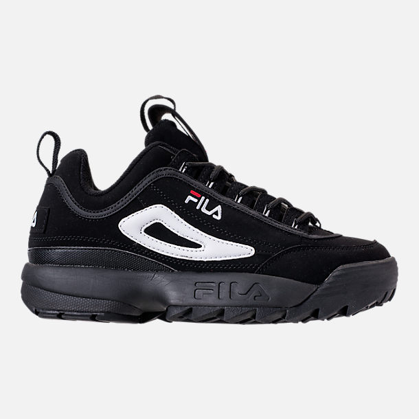 Right view of Big Kids' Fila Disruptor 2 Premium Casual Shoes in Black/White/Red