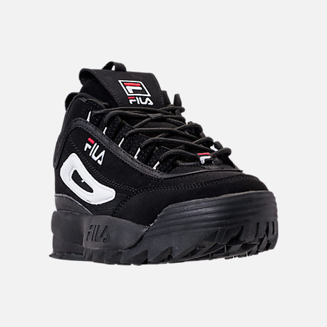 Three Quarter view of Big Kids' Fila Disruptor 2 Premium Casual Shoes in Black/White/Red