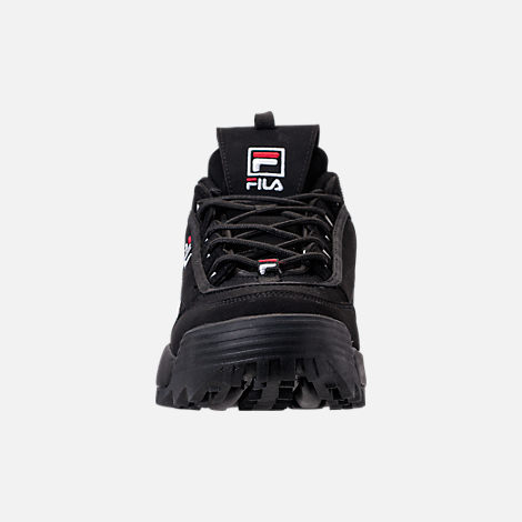 Front view of Big Kids' Fila Disruptor 2 Premium Casual Shoes in Black/White/Red