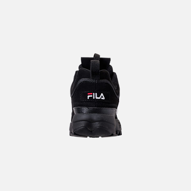 Back view of Big Kids' Fila Disruptor 2 Premium Casual Shoes in Black/White/Red