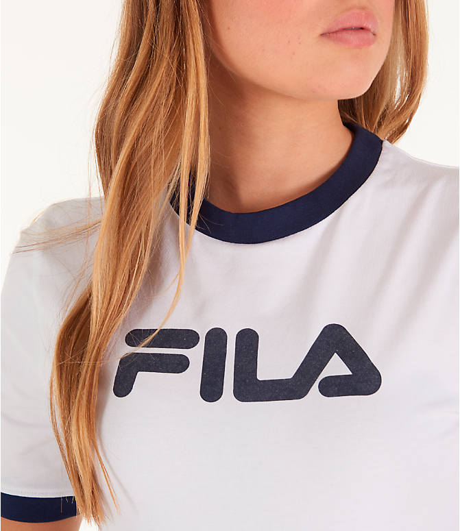 Detail 1 view of Women's Fila Tionne Cropped T-Shirt in White