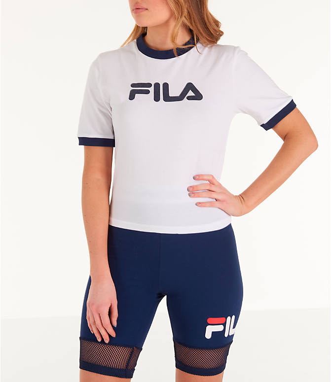 82f0c520d7a Front view of Women's Fila Tionne Cropped T-Shirt in White
