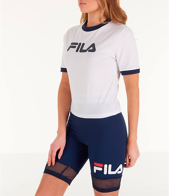 Front Three Quarter view of Women's Fila Tionne Cropped T-Shirt in White