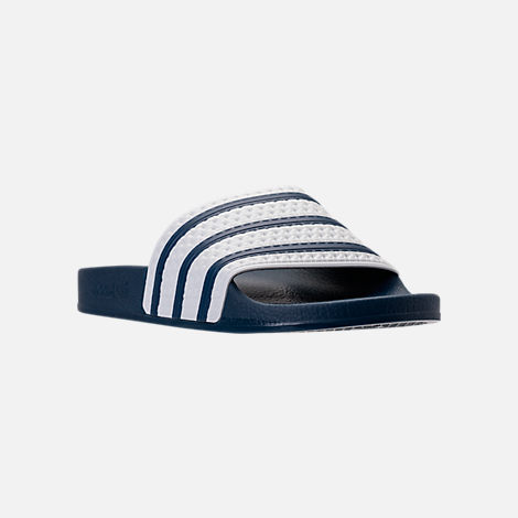 1a1d369f274 Three Quarter view of Men s adidas Adilette Slide Sandals in Navy White