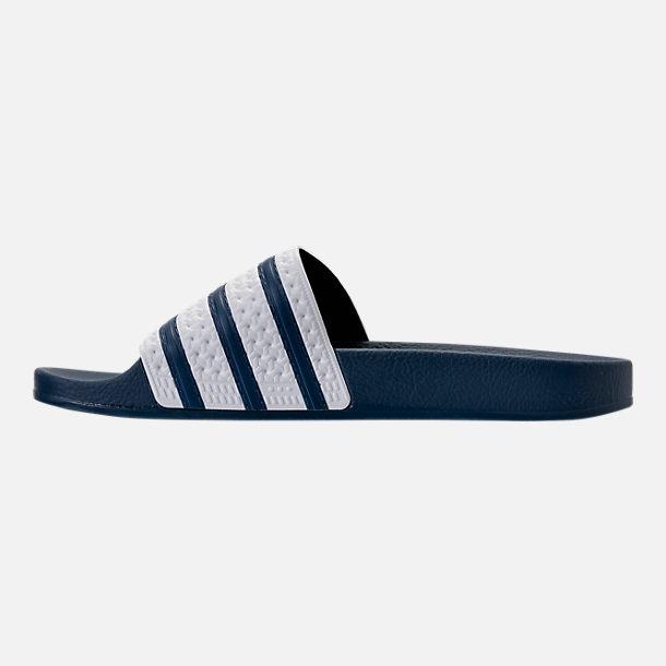2b5fcf02cd6272 Left view of Men s adidas Adilette Slide Sandals in Navy White