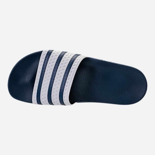 Top view of Men s adidas Adilette Slide Sandals in Navy White. Ratings    Reviews 93037a58c