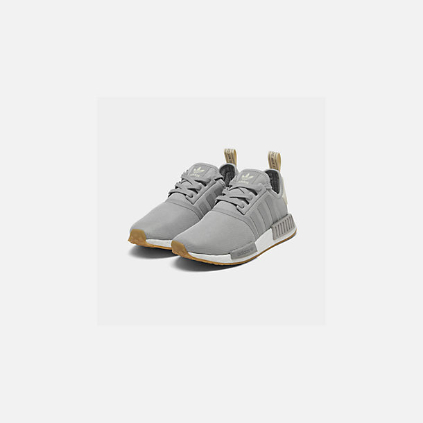 Three Quarter view of Women's adidas NMD R1 Casual Shoes in Grey/Ecru Tint