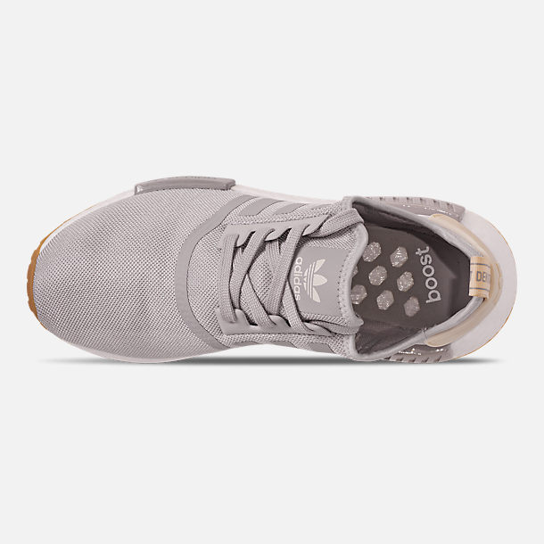 Top view of Women's adidas NMD R1 Casual Shoes in Grey/Ecru Tint