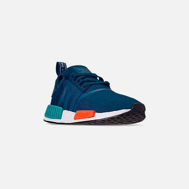 Three Quarter view of Men's adidas NMD Runner R1 Casual Shoes in Blue Night/Energy Orange