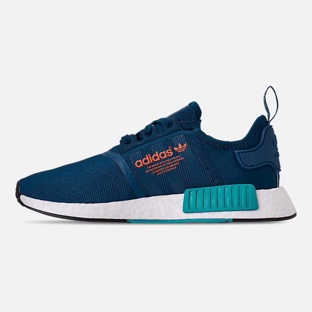 Left view of Men's adidas NMD Runner R1 Casual Shoes in Blue Night/Energy Orange