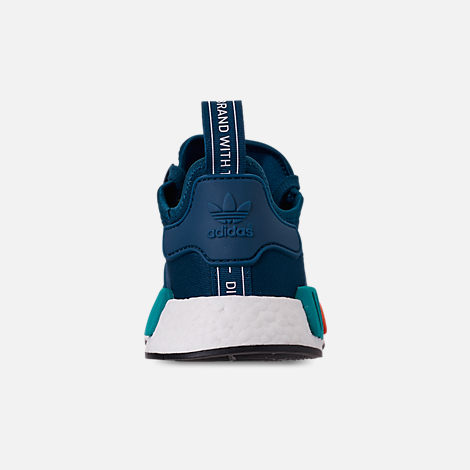 Back view of Men's adidas NMD Runner R1 Casual Shoes in Blue Night/Energy Orange