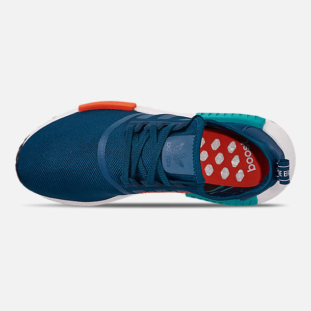 Top view of Men's adidas NMD Runner R1 Casual Shoes in Blue Night/Energy Orange