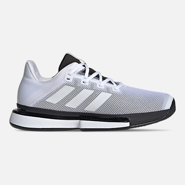 Right view of Men's adidas SoleMatch Bounce Tennis Shoes in Cloud White/Core Black