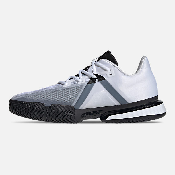 Left view of Men's adidas SoleMatch Bounce Tennis Shoes in Cloud White/Core Black