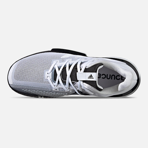 Top view of Men's adidas SoleMatch Bounce Tennis Shoes in Cloud White/Core Black