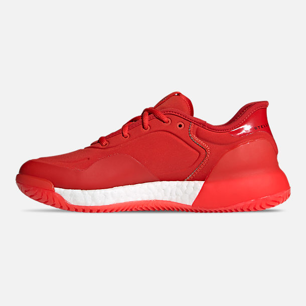 Left view of Women's adidas by Stella McCartney Court Boost Tennis Shoes in Active Red