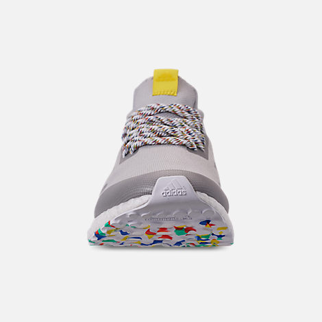 Front view of Men's adidas UltraBOOST Mid Running Shoes in Grey