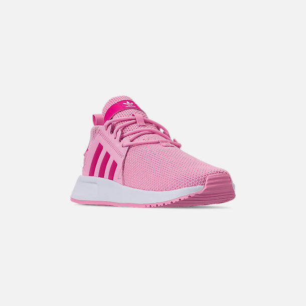 Three Quarter view of Girls' Little Kids' adidas Originals X_PLR Casual Shoes in True Pink/Shock Pink/Footwear White
