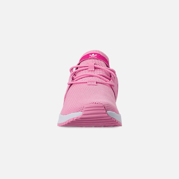 Front view of Girls' Little Kids' adidas Originals X_PLR Casual Shoes in True Pink/Shock Pink/Footwear White