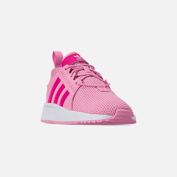 Three Quarter view of Girls' Toddler adidas Originals X_PLR Casual Shoes in True Pink/Shock Pink/Footwear White