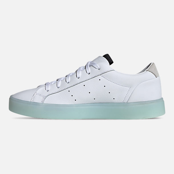 Left view of Women's adidas Originals Sleek Casual Shoes in Cloud White/Cloud White/Ice Mint