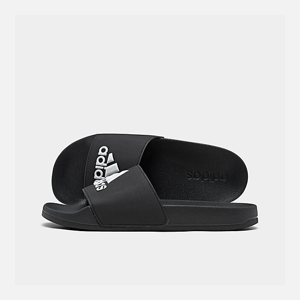 Right view of Boys' Big Kids' adidas Adilette Shower Slide Sandals in Core Black/Footwear White/Core Black