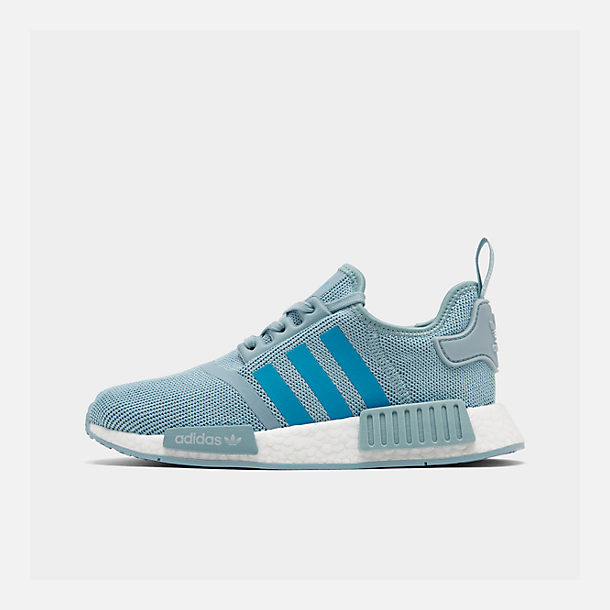 Right view of Big Kids' adidas NMD Runner Casual Shoes in Ash Grey S18/Shock Cyan/Footwear White