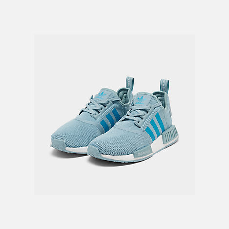 Three Quarter view of Big Kids' adidas NMD Runner Casual Shoes in Ash Grey S18/Shock Cyan/Footwear White