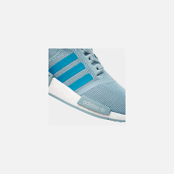 Front view of Big Kids' adidas NMD Runner Casual Shoes in Ash Grey S18/Shock Cyan/Footwear White