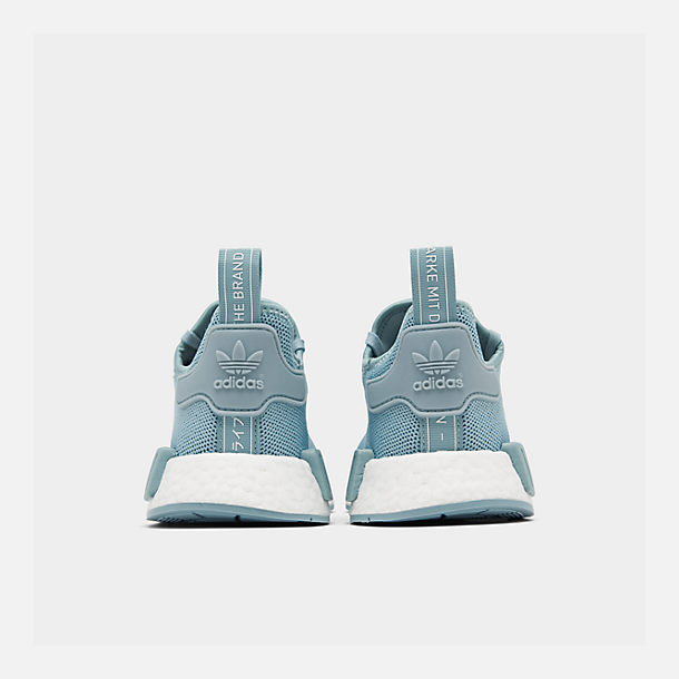 Left view of Big Kids' adidas NMD Runner Casual Shoes in Ash Grey S18/Shock Cyan/Footwear White