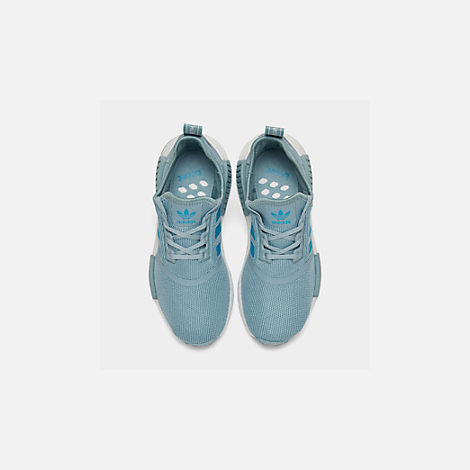 Back view of Big Kids' adidas NMD Runner Casual Shoes in Ash Grey S18/Shock Cyan/Footwear White