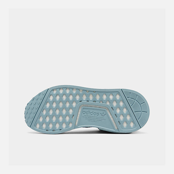 Bottom view of Big Kids' adidas NMD Runner Casual Shoes in Ash Grey S18/Shock Cyan/Footwear White