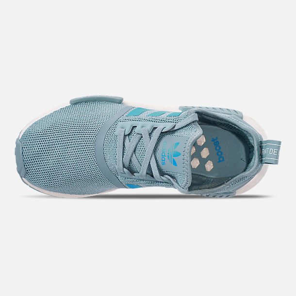 Top view of Big Kids' adidas NMD Runner Casual Shoes in Ash Grey S18/Shock Cyan/Footwear White