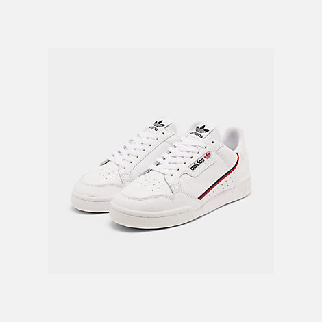 Three Quarter view of Men's adidas Originals Continental 80 Casual Shoes in Footwear White/Scarlet/Collegiate Navy