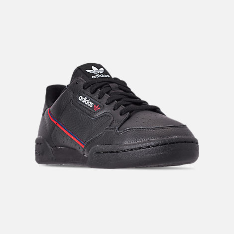 Three Quarter view of Men's adidas Originals Continental 80 Casual Shoes in Core Black/Scarlet/Collegiate Navy