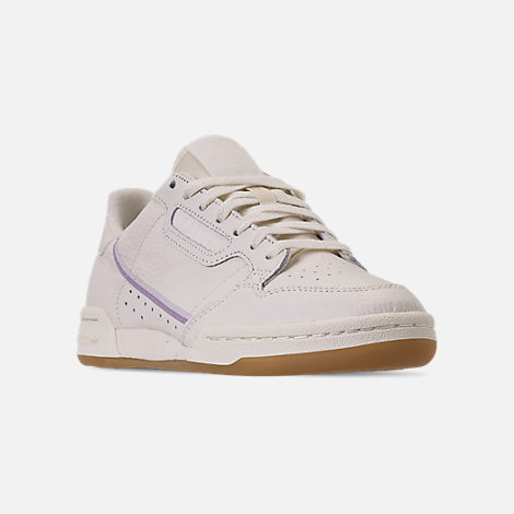 Three Quarter view of Women's adidas Originals Continental 80 Casual Shoes in Off White/Orchid Tint/Soft Vision