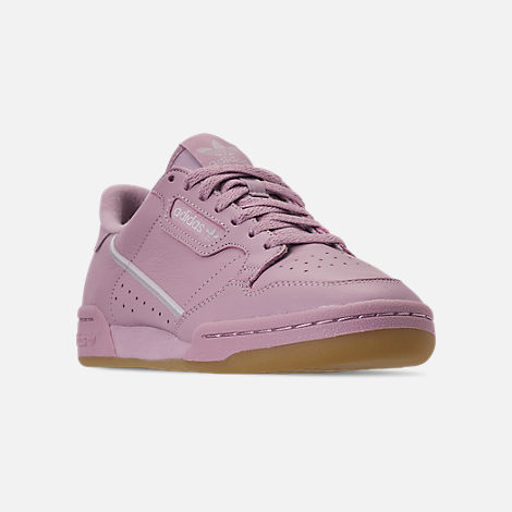 Three Quarter view of Women's adidas Originals Continental 80 Casual Shoes in Soft Vision/Grey/Grey