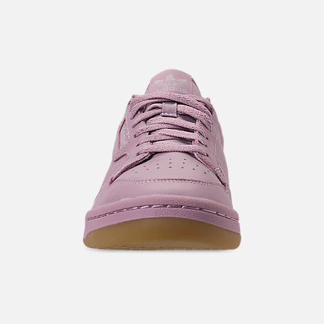 Front view of Women's adidas Originals Continental 80 Casual Shoes in Soft Vision/Grey/Grey