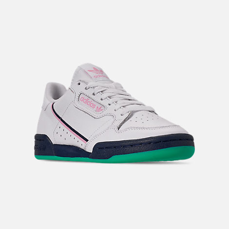 Three Quarter view of Women's adidas Originals Continental 80 Casual Shoes in Footwear White/True Pink/Collegiate Navy