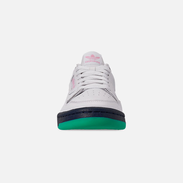 Front view of Women's adidas Originals Continental 80 Casual Shoes in Footwear White/True Pink/Collegiate Navy