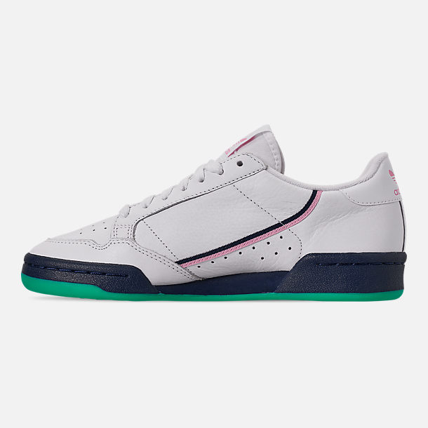 Left view of Women's adidas Originals Continental 80 Casual Shoes in Footwear White/True Pink/Collegiate Navy