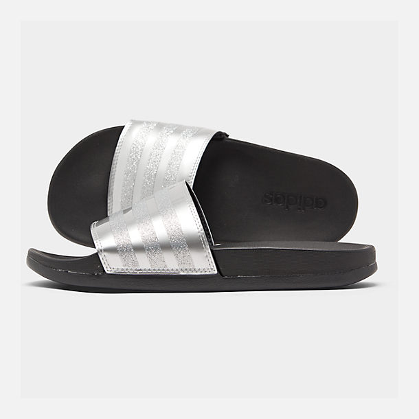 Right view of Women's adidas Adilette Comfort Slide Sandals in Silver Metallic/Core Black