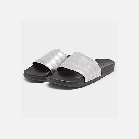 Three Quarter view of Women's adidas Adilette Comfort Slide Sandals in Silver Metallic/Core Black