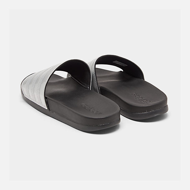 Left view of Women's adidas Adilette Comfort Slide Sandals in Silver Metallic/Core Black