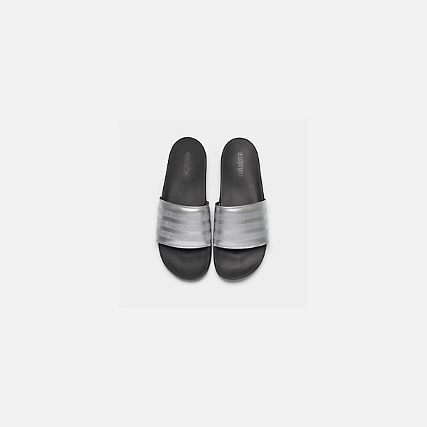 Back view of Women's adidas Adilette Comfort Slide Sandals in Silver Metallic/Core Black