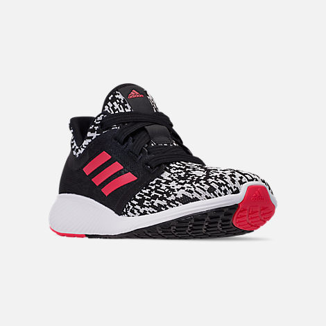 Three Quarter view of Women's adidas Edge Lux Running Shoes in Core Black/Silver Metallic/Shock Red
