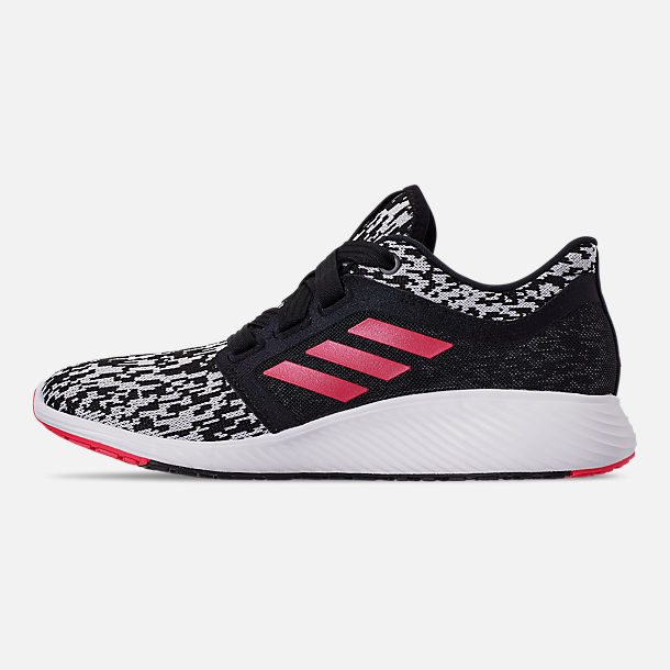 Left view of Women's adidas Edge Lux Running Shoes in Core Black/Silver Metallic/Shock Red