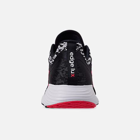 Back view of Women's adidas Edge Lux Running Shoes in Core Black/Silver Metallic/Shock Red