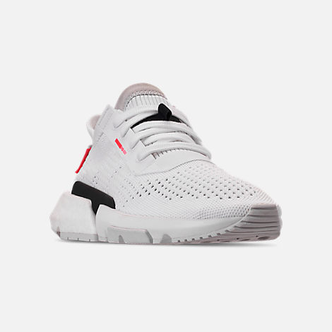 Three Quarter view of Women's adidas Originals POD-S3.1 Primeknit Casual Shoes in White/White/Shock Red